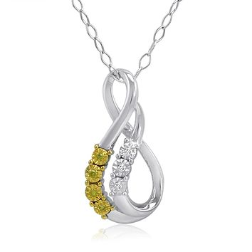 Yellow and White Diamond Swirl Pendant-Necklace in Sterling Silver