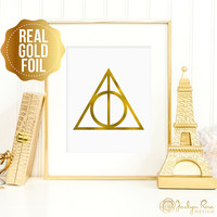 Harry Potter gift, Harry Potter print, Deathly Hallows art, Deathly Hallows print, real gold foil print, a perfect gift for Harry Potter fan