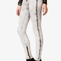 Studded Mineral Wash Skinny Jeans