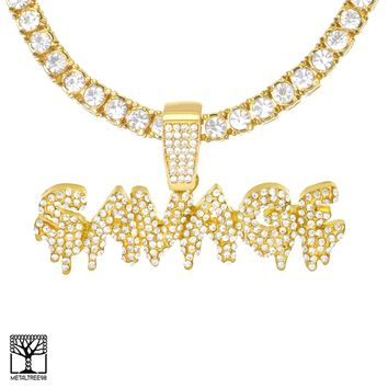 Jewelry Kay style Iced Dripping SAVAGE Sign Gold Plated Pendant Tennis Chain Necklace THC 3504 G