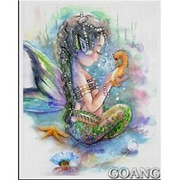 5D Diamond Painting Sea Horse and Little Girl Mermaid Kit
