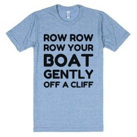 Gently off a Cliff-Unisex Athletic Blue T-Shirt