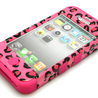 iPhone 4 4S Hybrid Tuff 3in1 Hot Pink Soft Skin+Leopard Hard Snapon Cover Case