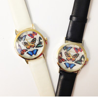 Butterfly Leather Band Watches #W83