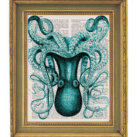 Octopus Print Large Teal Vintage by papergangsterprints on Etsy