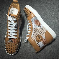 Christian Louboutin CL Lou Spikes Style #2211 Sneakers Fashion Shoes Online