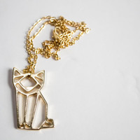 Geometric 18k Gold Plated Cat Pendant Necklace