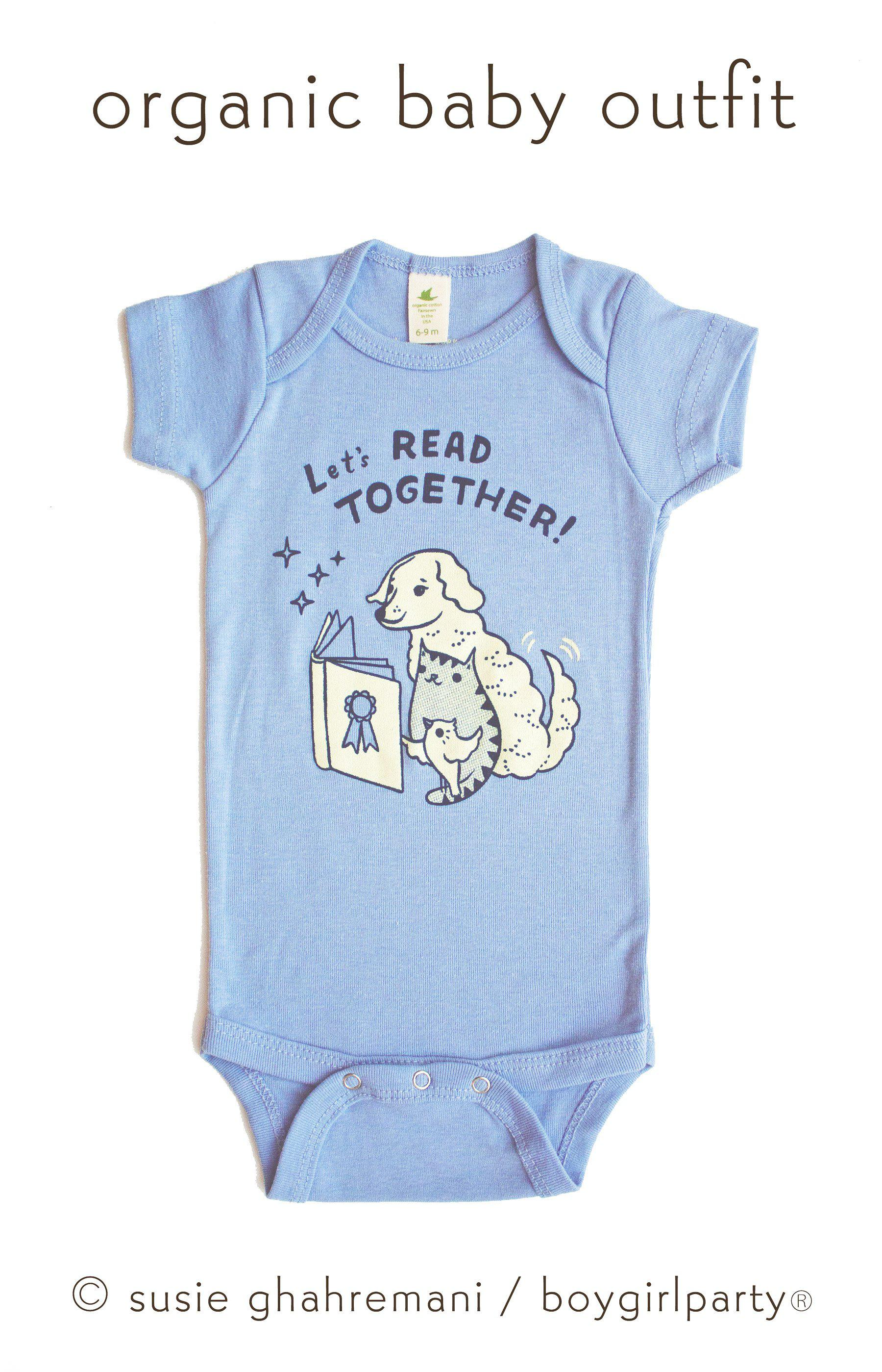 Image of Let's Read Together Onesuit -- Bookish Organic Baby Onesuit (Blue)