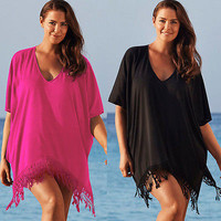 Lace Beach Cover up Chiffon V-neck Bikini Cover Ups Women Swimsuit Covers up Beachwear Beach Tunic Bathing Suit Tassel Coverups