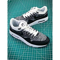 Nike Air Max 1 Ultra Flyknit Og Black Grey Sport Running Shoes