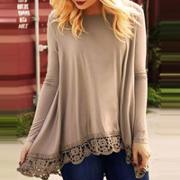 Khaki Loose Long Sleeve Lace Trim Blouse