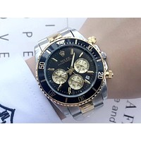 Rolex tide brand men and women models simple wild waterproof quartz watch Black