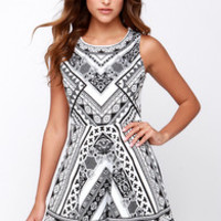 Mirror Me Black and Ivory Print Dress