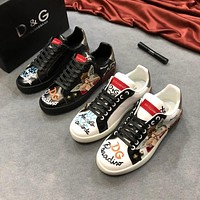 Dolce&Gabbana Print Leather D&G Low-Top Sneakers