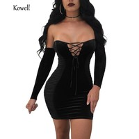 Hot Sale Strapless Off Shoulder Sexy Bodycon Dress Long Sleeve Backless Mini Party Dress Women Black Casual Autumn Dress 2018