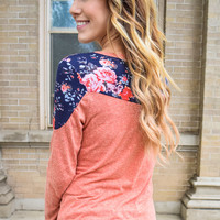 Accent Flower Long Sleeve Top