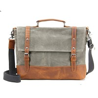 Waxed Canvas with Leather Trim Waterproof Men's Satchel Bag
