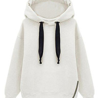 White Hoodie With Side Zipper - Choies.com