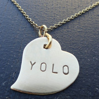 """YOLO Brass Heart Necklace- """"You Only Live Once"""""""