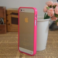Hot Pink Lovely Soft Trim High Clear Back Hard Cover Bumper Case for iPhone 5 5G