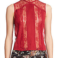 Alice and Olivia - Jannette Lace Panel Top - Saks Fifth Avenue Mobile