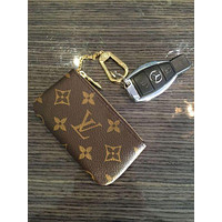 LV Louis Vuitton Popular Simple Print Monogram Canvas Key Pouch Lovers I