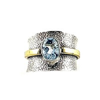 Blue Topaz Two Tone Sterling Silver Band Ring