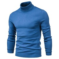 New Winter Turtleneck Thick Mens Sweaters Casual Turtle Neck Solid Color Quality Warm Slim Sweaters Men Turtleneck Pullover Male