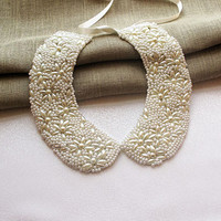 Pearl Collar, Hand-Embroidered, Detachable collar Necklace, Bib Necklace, Statement Jewelry, Gift İdeas, Women Accessories
