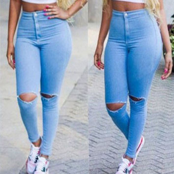 2016 Spring Skinny High waist Jeans Women Slim Capris Knee Torn Hole Trousers Vintage Denim Ripped Jeans Pencil Pants QL2110