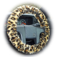 Brown Leopard animal print faux furry fur fluffy fuzzy car Steering wheel cover