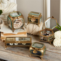 TWO'S COMPANY BEVELED GLASS & BRASS BOX ASSORTED