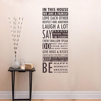 In This House We Are A Family Removable Vinyl Wall Art Words, family room entry way wall sticker words house rules values