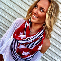 American Flag Scarf Patriotic Infinity July 4th Scarves Red White and Blue
