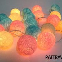 LED 20 Pastel Tone Cotton Ball String Lights ( Pink BlueSky Beige )
