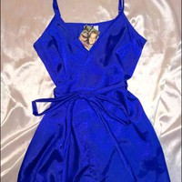 SWEET LORD O'MIGHTY! MINI SILK WRAP DRESS IN ROYAL