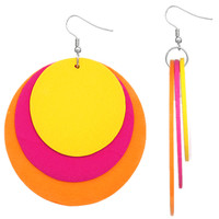Yellow Multicolor Thin Wooden Layered Disk Earrings