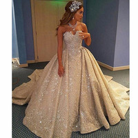 Gorgeous Crystal Beading Ball Gown Wedding Dress Vintage Champagne Lace