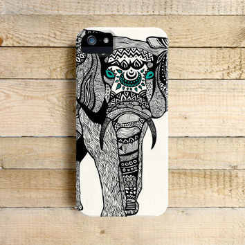One Tribal Elephant Art Phone Case for iPhone 4, 4s, 5, 5s, 5c and Samsung Galaxy S3 & S4