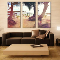 Palm Beach in Summer LARGE Canvas 3 Panels Print Ocean Art Wall Deco Fine Art Photography Repro Print for Home and Office Wall Decoration