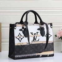 Louis Vuitton LV Hot Sale Retro Tote Bag Graffiti Print Fashion Ladies Handbag Shopping Bag