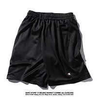 Champion Summer New Fashion Mesh Breathable Women Men Sports Shorts Black