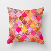 Hot Pink, Gold, Tangerine & Taupe Decorative Moroccan Tile Pattern Throw Pillow by Micklyn