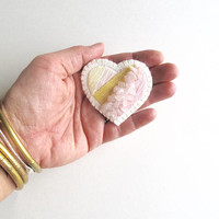 Hand embroidered heart brooch with pink and yellow pastels with rose quartz beads on cream muslin with cream felt backing Spring