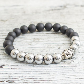 Matte black onyx and silver plated hematite beaded silver Buddha head stretchy bracelet, mens bracelet, womens bracelet
