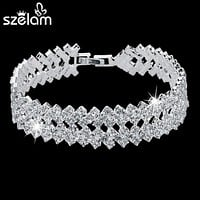 Women Fashion Silver Rhinestone Crystal Bracelets & Bangles Bridal Wedding Jewelry