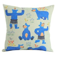 """MagicPieces Cotton and Flax Decorative Pillow Case Pillow Cover Case 18"""" x 18"""" Square Shape Cartoon Animal A"""