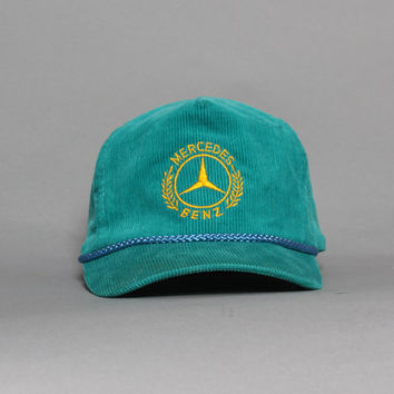 90s MERCEDES Benz HAT / Teal Corduroy Embroidered Snapback Baseball Cap