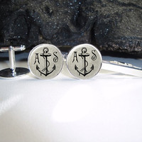 Personalized Linen Anchor Cuff Links 20mm Doctor Silver Cufflinks for Him/Men Gift