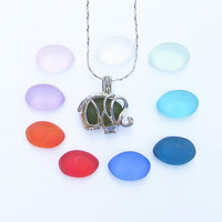 Colorful Set of 10 Sea Glass Elephant Locket Necklace Beach Boho Summer Stye by Wave of Life™